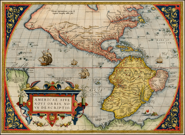 36-Western Hemisphere, South America and America Map By Abraham Ortelius