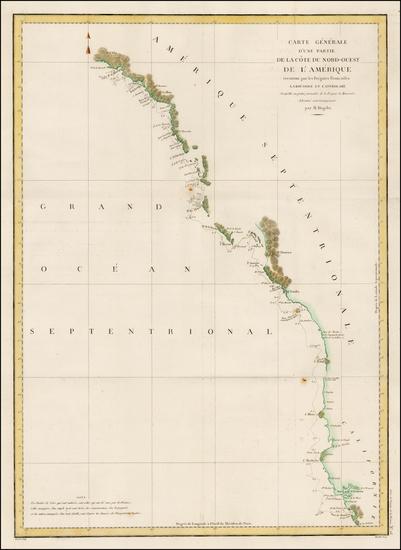 53-Alaska and California Map By Jean Francois Galaup de La Perouse