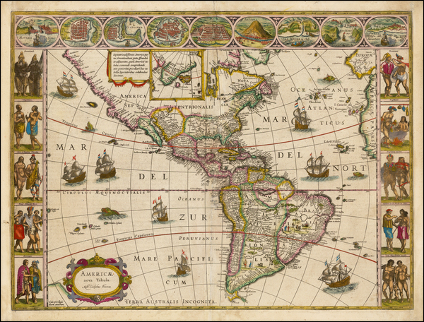 33-Western Hemisphere, North America, South America and America Map By Willem Janszoon Blaeu