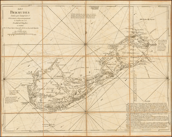 92-Atlantic Ocean, Caribbean and Bermuda Map By Georges Louis Le Rouge