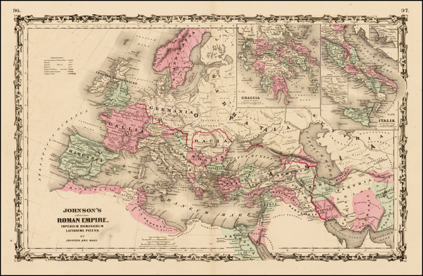 41-Europe, Europe, Italy and Mediterranean Map By Benjamin P Ward  &  Alvin Jewett Johnson