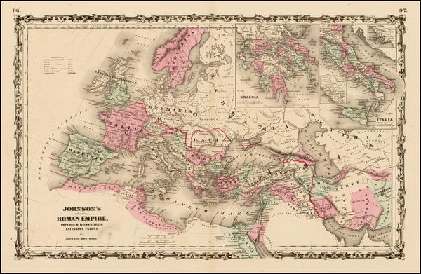 88-Europe, Europe, Italy and Mediterranean Map By Benjamin P Ward  &  Alvin Jewett Johnson