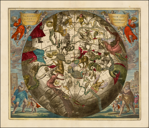 8-Western Hemisphere, Southern Hemisphere and Celestial Maps Map By Andreas Cellarius