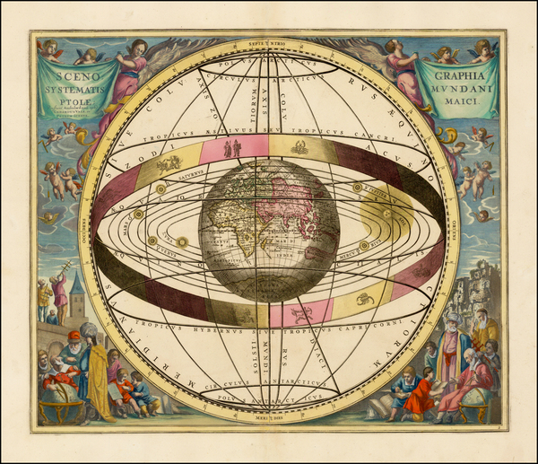 36-Eastern Hemisphere, Indian Ocean and Celestial Maps Map By Andreas Cellarius