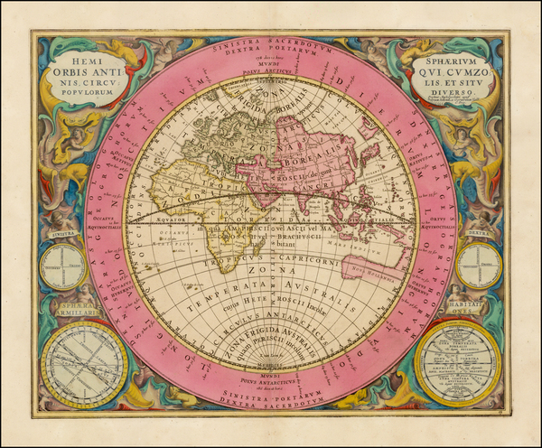 62-Eastern Hemisphere, Indian Ocean and Celestial Maps Map By Andreas Cellarius