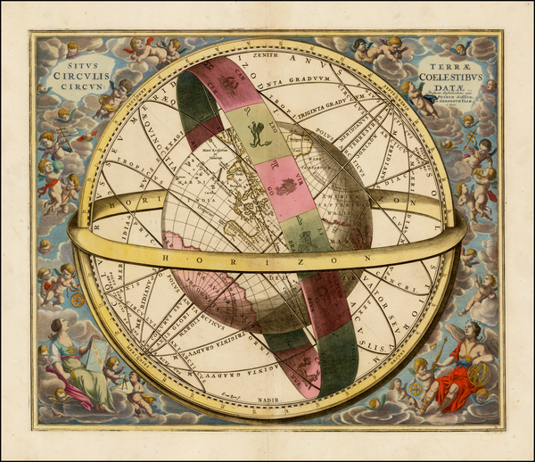 27-Pacific, Australia, California and Celestial Maps Map By Andreas Cellarius