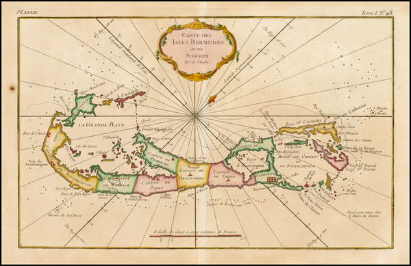 93-Caribbean and Bermuda Map By Jacques Nicolas Bellin