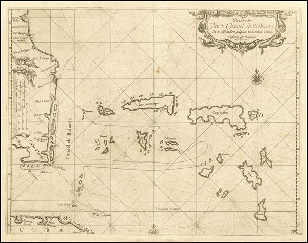 0-Florida, Southeast and Caribbean Map By Arent Roggeveen / Jacobus Robijn