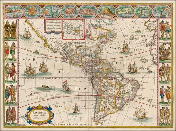 37-Western Hemisphere, North America, South America and America Map By Willem Janszoon Blaeu