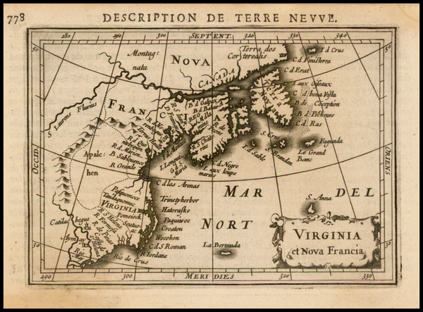 97-New England, Mid-Atlantic, Canada and South America Map By Barent Langenes