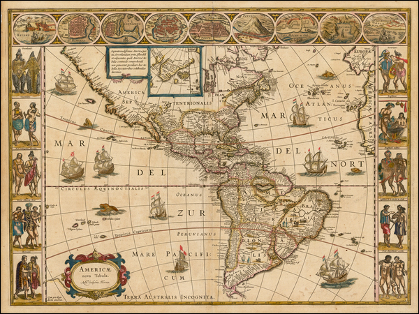 5-Western Hemisphere, South America and America Map By Willem Janszoon Blaeu