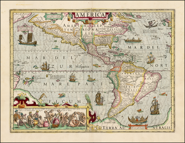 60-Western Hemisphere, South America and America Map By Jodocus Hondius