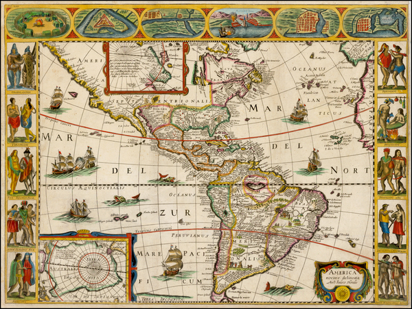 79-South America and America Map By Jodocus Hondius