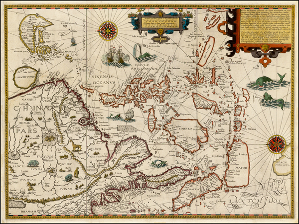 61-China, Japan, Korea, Southeast Asia and Philippines Map By Jan Huygen Van Linschoten