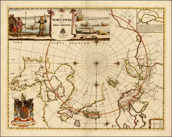 88-Polar Maps, Canada, Russia, Scandinavia and Russia in Asia Map By Moses Pitt
