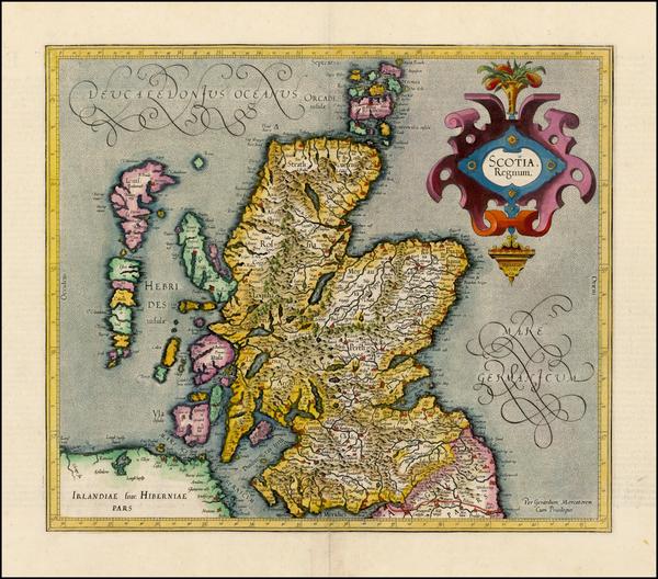 81-Scotland Map By  Gerard Mercator