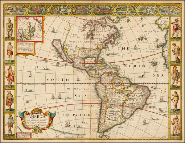 5-South America and America Map By John Speed
