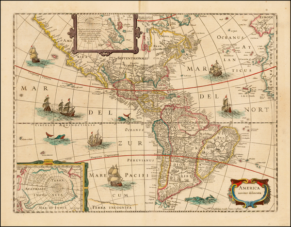 7-South America and America Map By Jodocus Hondius - Jan Jansson
