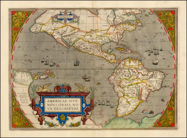 27-Western Hemisphere, North America, South America and America Map By Abraham Ortelius