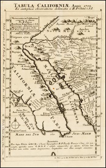91-Southwest, Mexico, Baja California and California Map By Fr. Eusebio Kino
