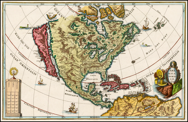 63-North America and California Map By Heinrich Scherer
