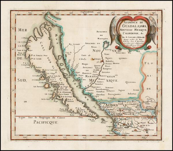 25-Southwest, Mexico, Baja California and California Map By Nicolas Sanson