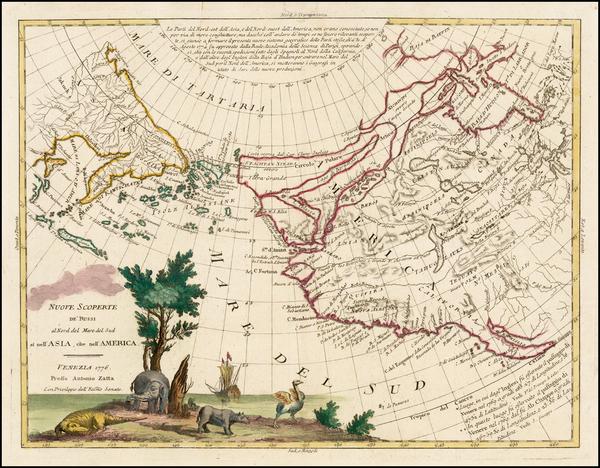 36-Alaska, Canada and California Map By Antonio Zatta