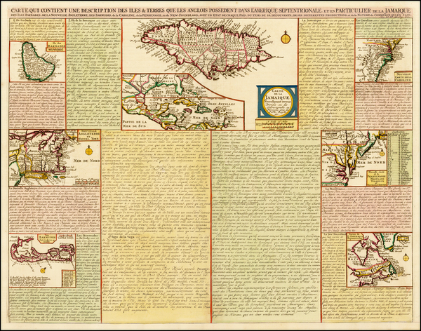 47-New England, Mid-Atlantic, Southeast, Caribbean, Jamaica and Bermuda Map By Henri Chatelain