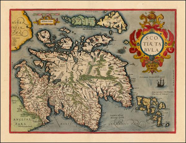 25-Scotland Map By Abraham Ortelius