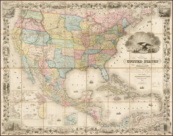 81-United States Map By Joseph Hutchins Colton
