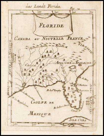 64-Florida and Southeast Map By Alain Manesson Mallet