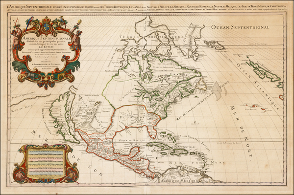 71-North America and California Map By Alexis-Hubert Jaillot