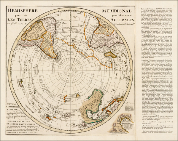 75-Southern Hemisphere, Polar Maps, Australia and New Zealand Map By Hendrick De Leth