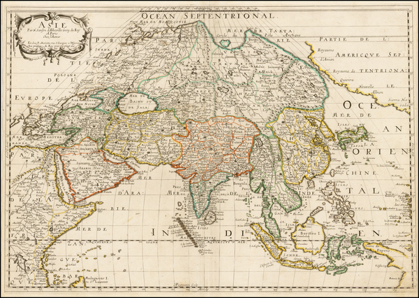 7-North America, Asia, Asia, Korea and California Map By Nicolas Sanson