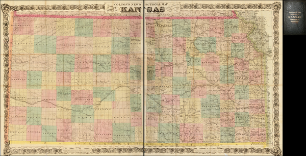 62-Kansas Map By G.W.  & C.B. Colton