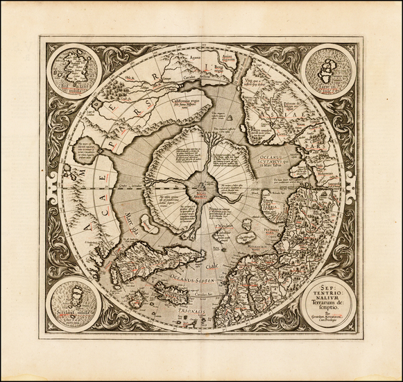 44-Northern Hemisphere, Polar Maps and Alaska Map By Gerard Mercator