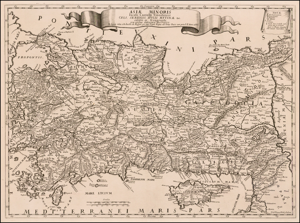 Cyprus and Turkey & Asia Minor Map By Giacomo Cantelli da Vignola