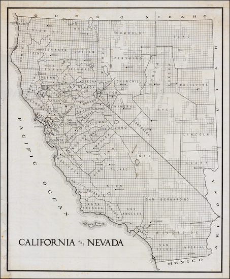 Nevada and California Map By Anonymous