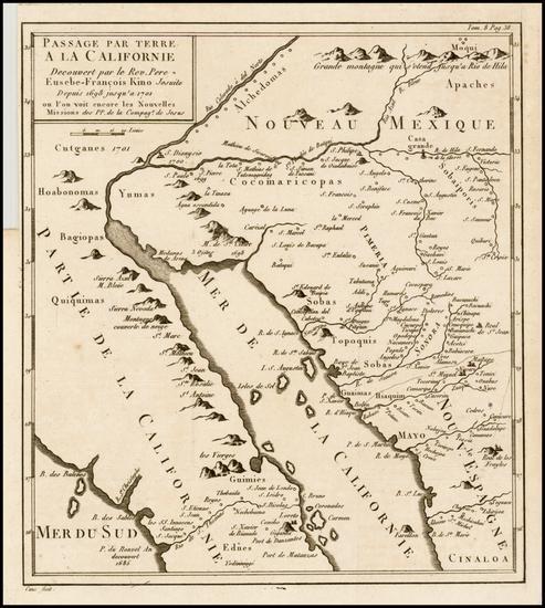 78-Southwest, Mexico, Baja California and California Map By Fr. Eusebio Kino