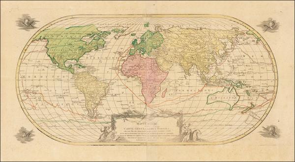 34-World, World, Hawaii, Pacific and Hawaii Map By Johann Michael Probst