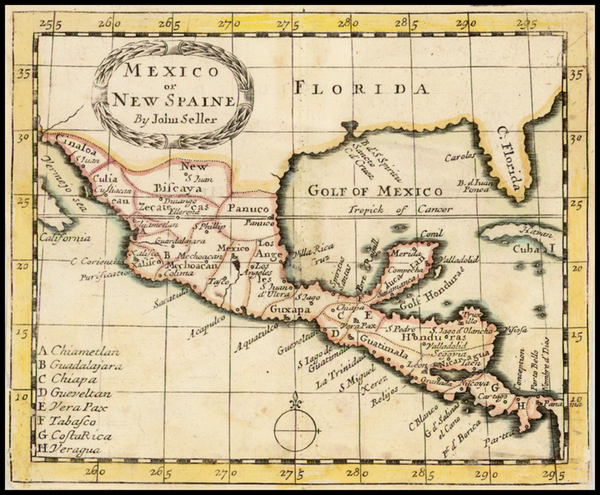 Florida, South, Southwest and Mexico Map By John Seller
