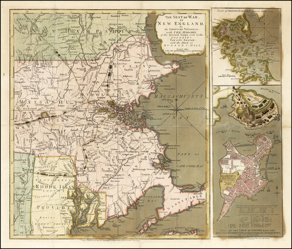 59-New England, Massachusetts and American Revolution Map By Robert Sayer  &  John Bennett