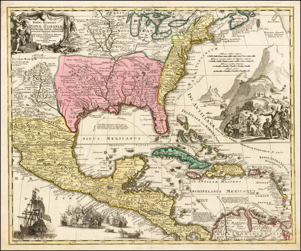 28-United States, South, Southeast, Texas, Midwest and Southwest Map By Johann Baptist Homann