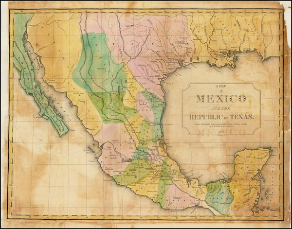 21-Texas, Southwest, Mexico and Baja California Map By J.M.  Niles  &  L.T. Pease
