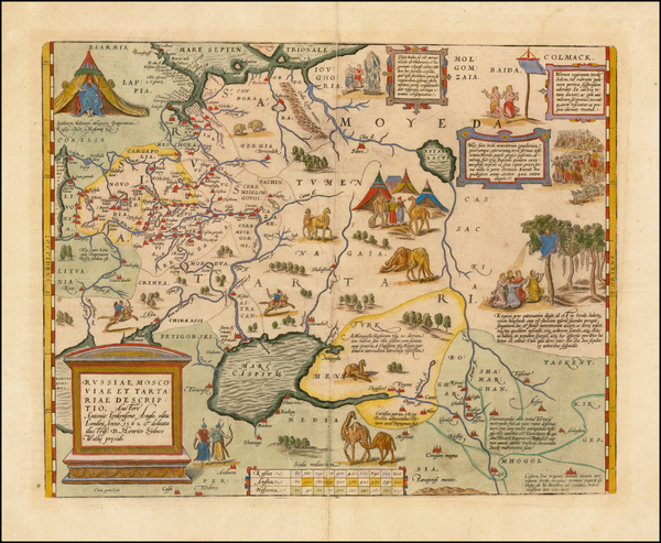 96-Russia, Ukraine, India, Central Asia & Caucasus and Russia in Asia Map By Abraham Ortelius