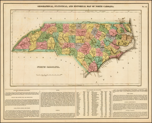 61-Southeast and North Carolina Map By Henry Charles Carey  &  Isaac Lea
