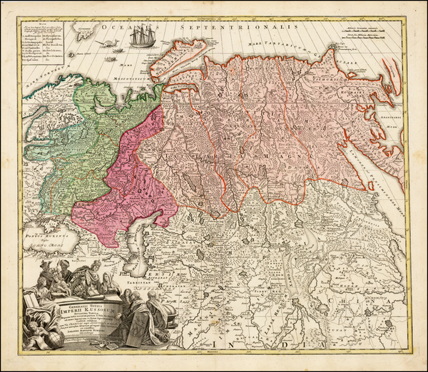 7-Russia, Central Asia & Caucasus and Russia in Asia Map By Johann Baptist Homann