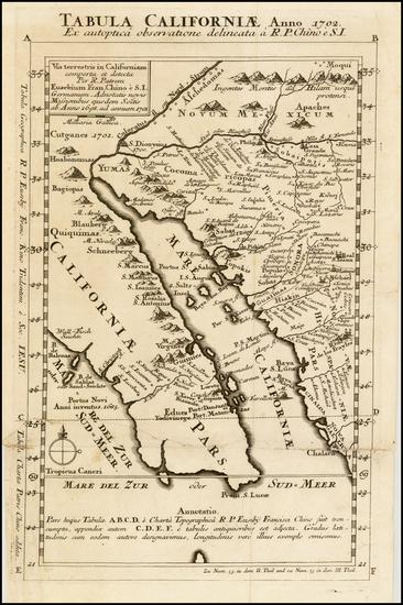 25-Southwest, Mexico, Baja California and California Map By Fr. Eusebio Kino