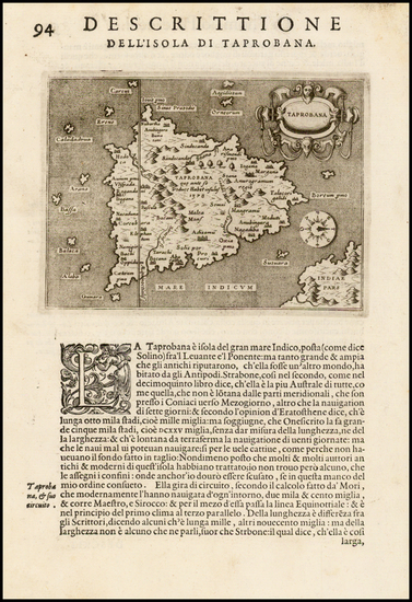 India & Sri Lanka and Other Islands Map By Tomasso Porcacchi