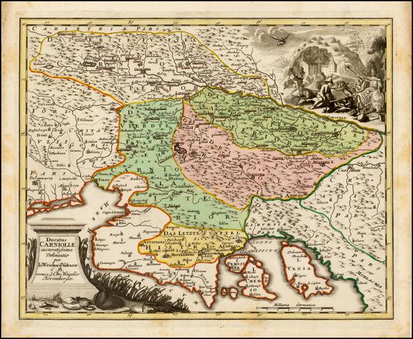 51-Austria and Balkans Map By Johann Christoph Weigel